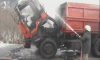 На Сумщине на дороге загорелся КАМАЗ (видео)